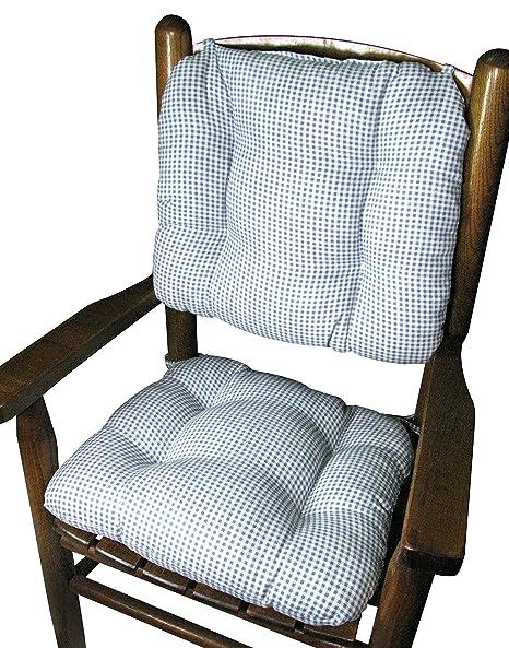 Barnett Child Rocking Chair Cushion Set   Madrid Light Blue Gingham   Latex  Foam Fill