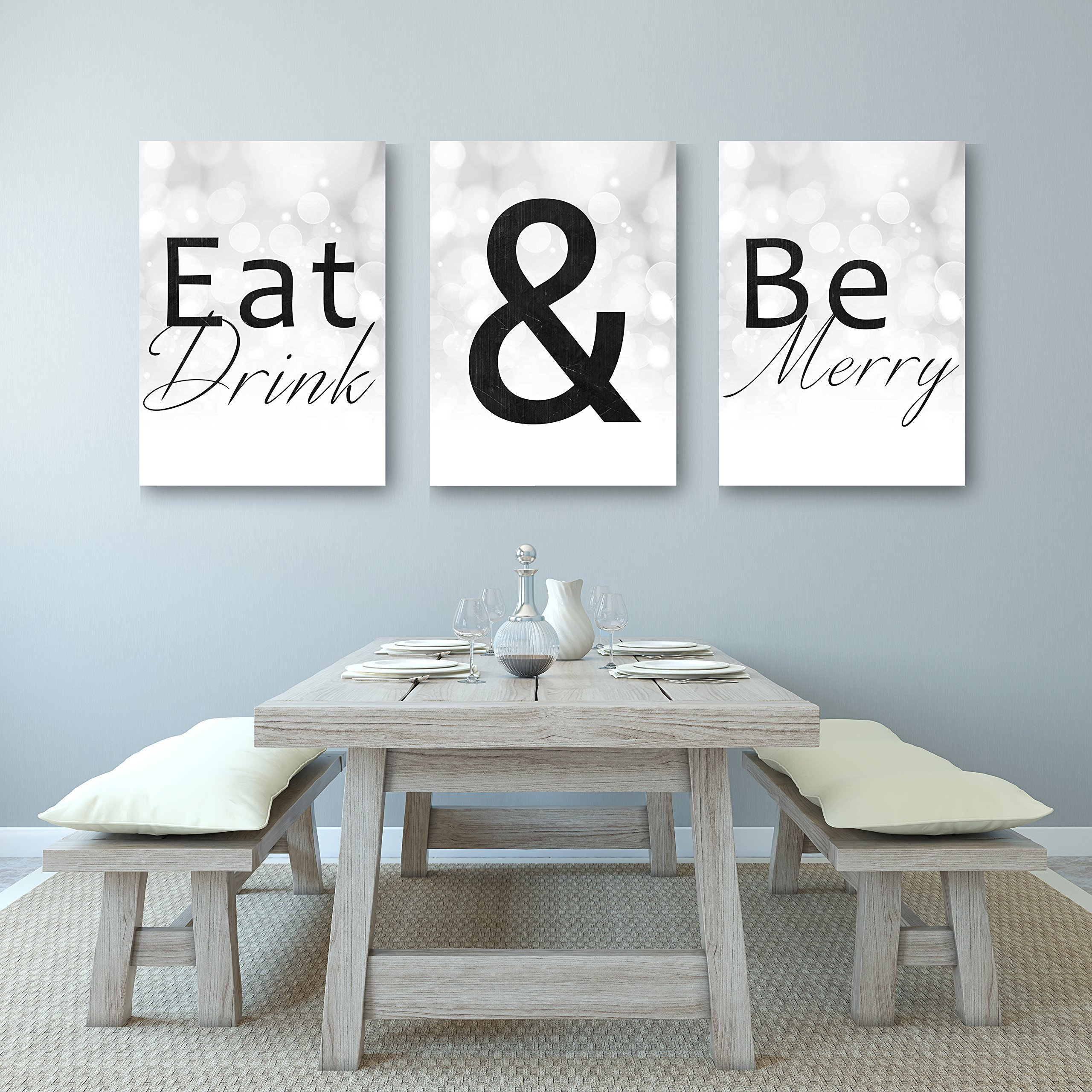 Eat Drink And Be Merry - Beautiful Kitchen Or Dining Decor Canvases - Set of 3 Canvases by anniversary-gifts (Image #1)