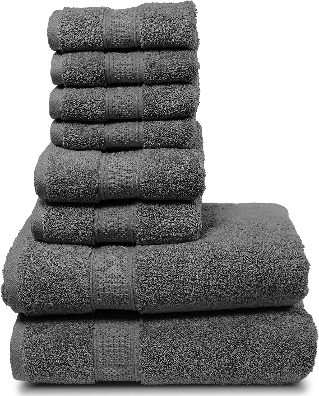 "Maura 8 Piece Bath Towel Set.2 Extra Large 30""x56"" Premium Turkish Bath Towels, 2 Hand Towels, 4 Washclothes. Thick, Soft, Plush and Highly Absorbent Luxury Hotel & Spa Quality Towels - Space Gray: Home & Kitchen"