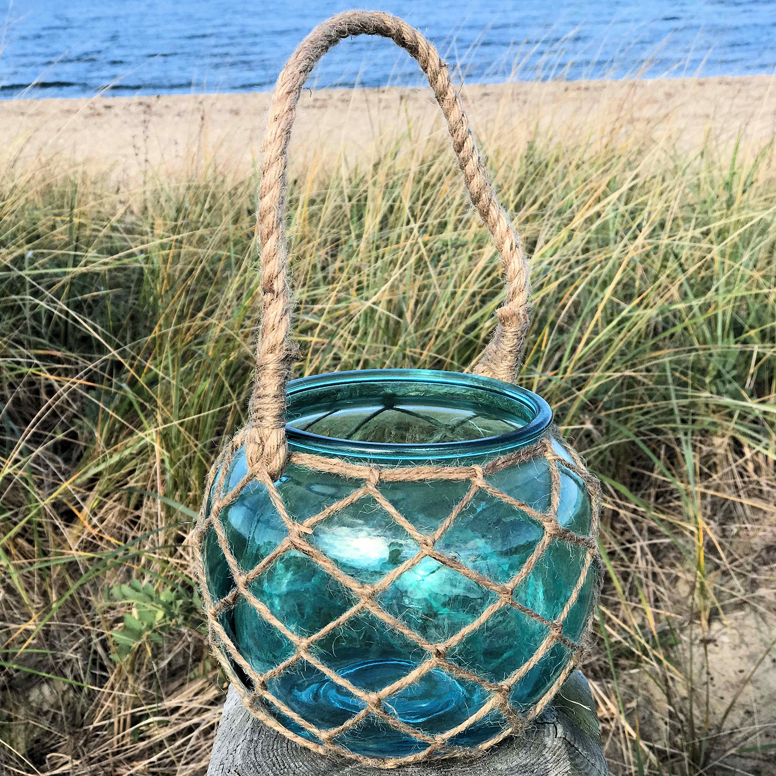Whole House Worlds The Mariners Lobster Pot Netted Hurricane Candle Lantern, Globe Shape, Pale Aqua Marine, Jute, Rope Handles, Glass, 6 Inches Diameter, 5 Inches Tall, By by Whole House Worlds
