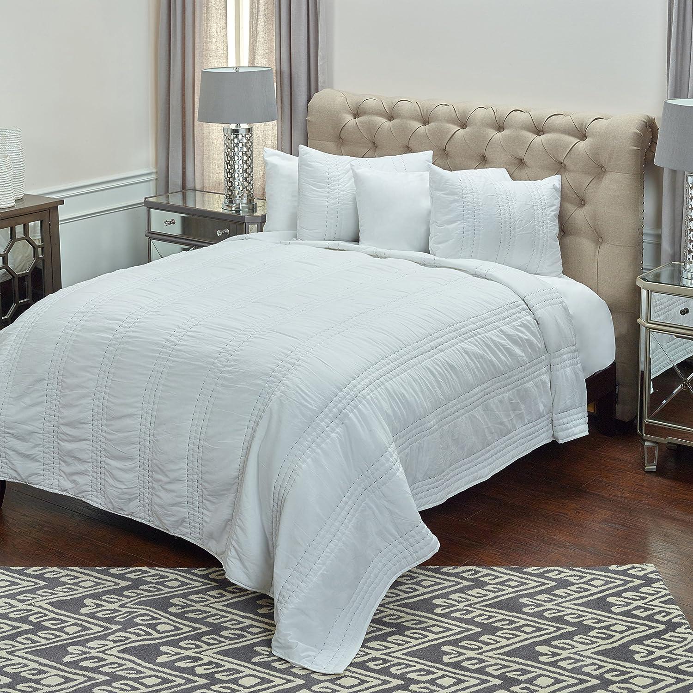 "Rizzy Home BQ4175 Quilt, 90""X92"", White"
