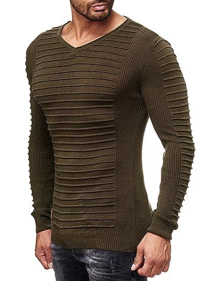 8dae8132f53 Redbridge Hommes Manches Longues Pull Basic Nervuré Tricotés V-Cou Sweat- Shirt
