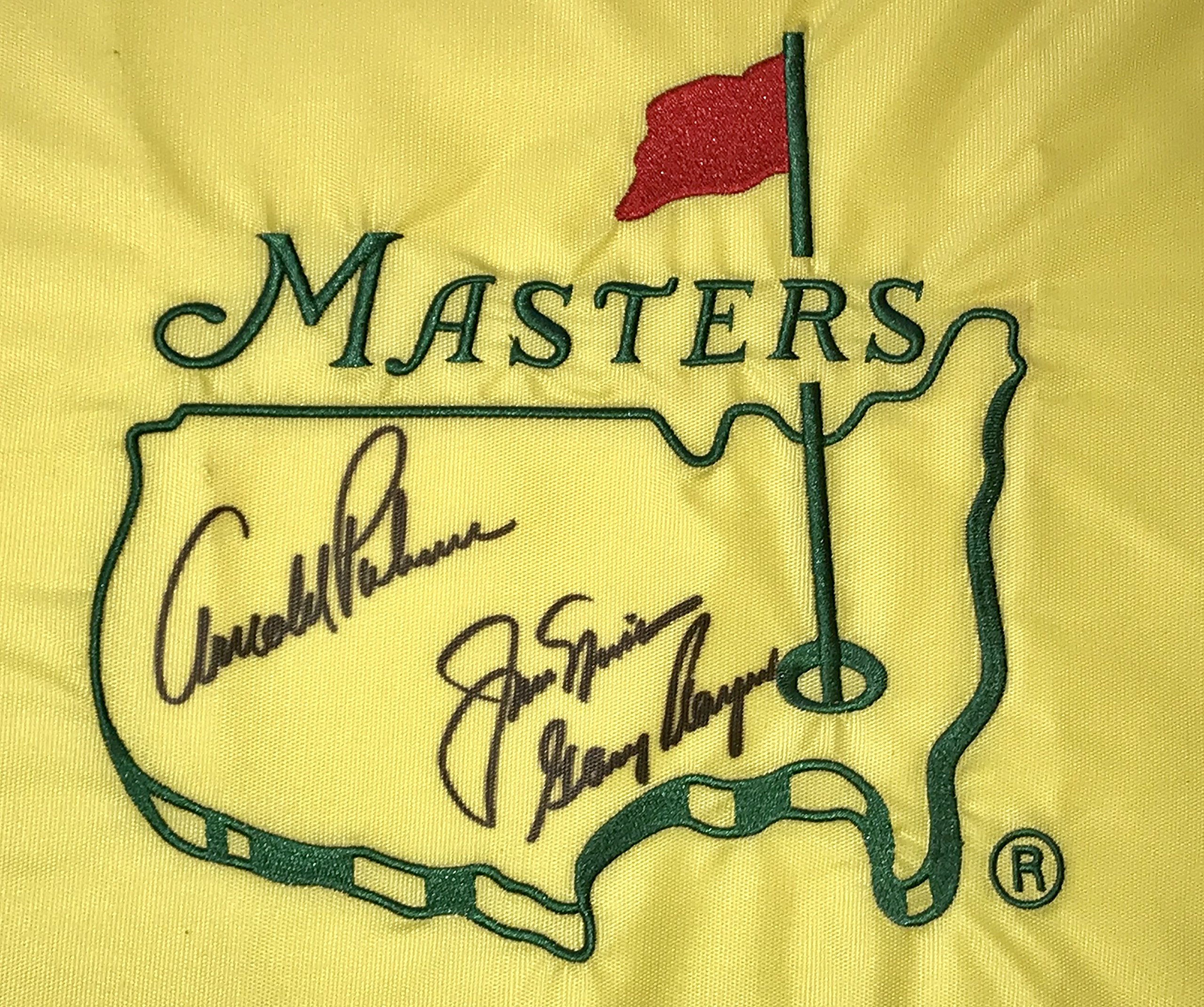 2018 Masters Arnold Palmer Jack Nicklaus Gary Player signed undated Masters flag psa dna loa