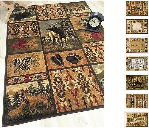 HR-Cabin Rug Cabin Area Rug Modern Geometric South-Western Design Cabin Area Rug 7 6 x 10 1 Abstract, Beige Multicolor Design Leafs Nature Bear Deer Foot Print