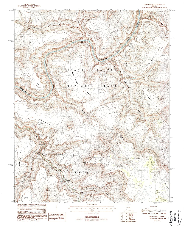 Historical YellowMaps Havasu Falls AZ topo map 26.9 x 22 in 1:24000 Scale Updated 1988 7.5 X 7.5 Minute 1988