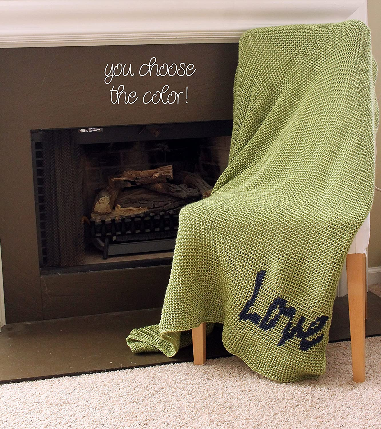 Image of Afghan Throw Blanket Crochet - Solid Light Green Afghan with Dark Blue 'Love' - Made To Order Home and Kitchen