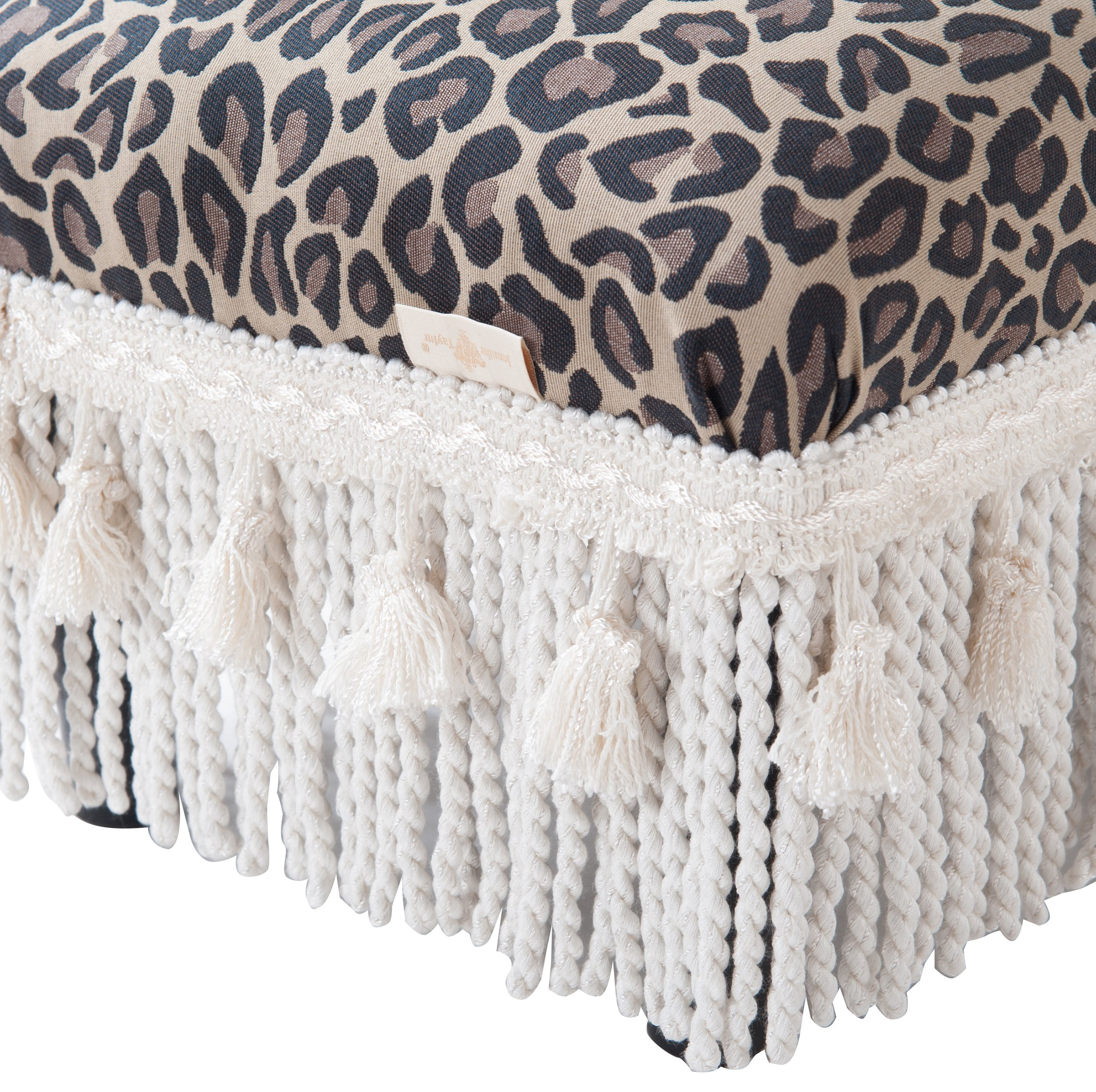 Jennifer Taylor Home 2318-655 Decorative Fiona Collection Traditional Upholstered Rayon Blend Footstool with Fringe and Trim Tassels, Multi-Colored, Brown/Beige by Jennifer Taylor Home (Image #5)