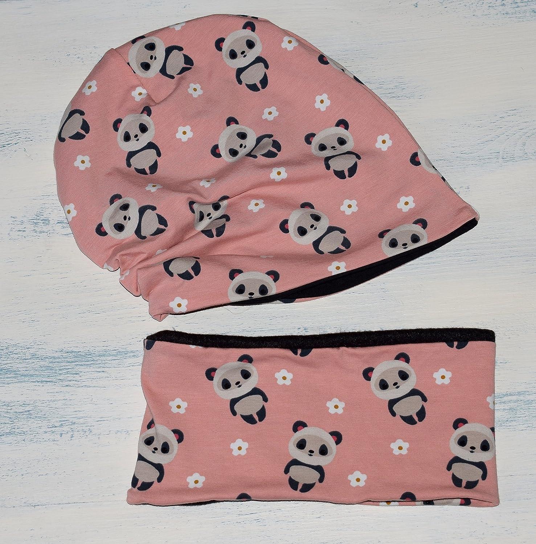 Conjunto de gorro y braga de cuello, con estampado de Pandas, disponible en tallas de recié n nacido hasta 6 añ os, el gorro es de algodó n reversible, y la bufanda tiene tela de forro polar dentro. el gorro es de algodón reversible