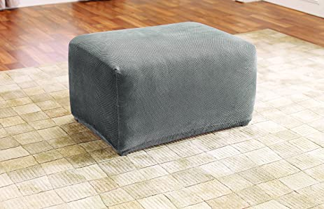 sure fit sf45540 stretch pique oversized ottoman slipcover flannel gray