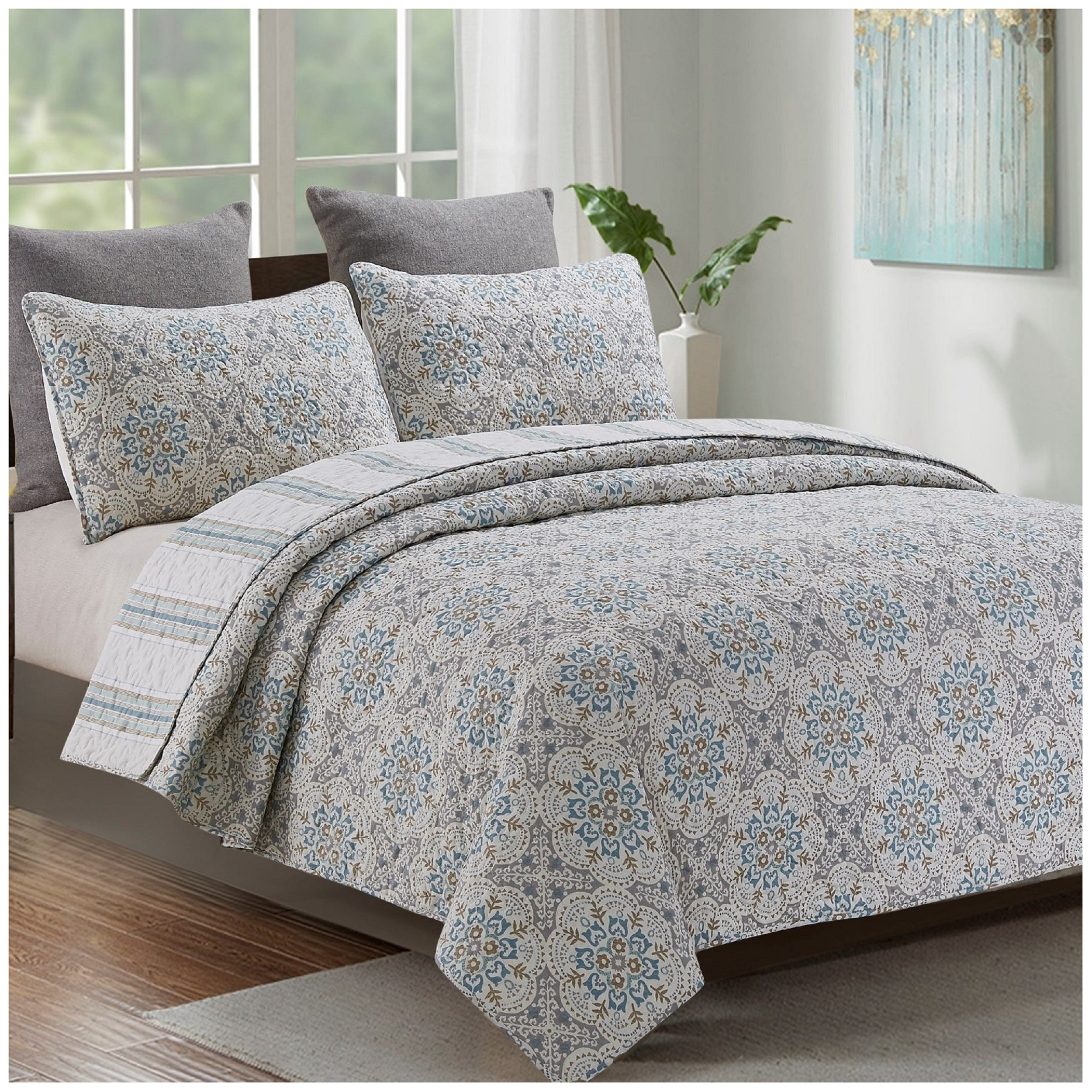 Hedaya Home Fashions Laurent Reversible Quilt Set, Contemporary Floral Medallion Pattern, 3-Piece Set with Quilt and Pillow Shams - Full/Queen, Laurent