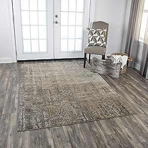 Rizzy Home Valencia Collection Polypropylene/Polyester Area Rug, 6'7