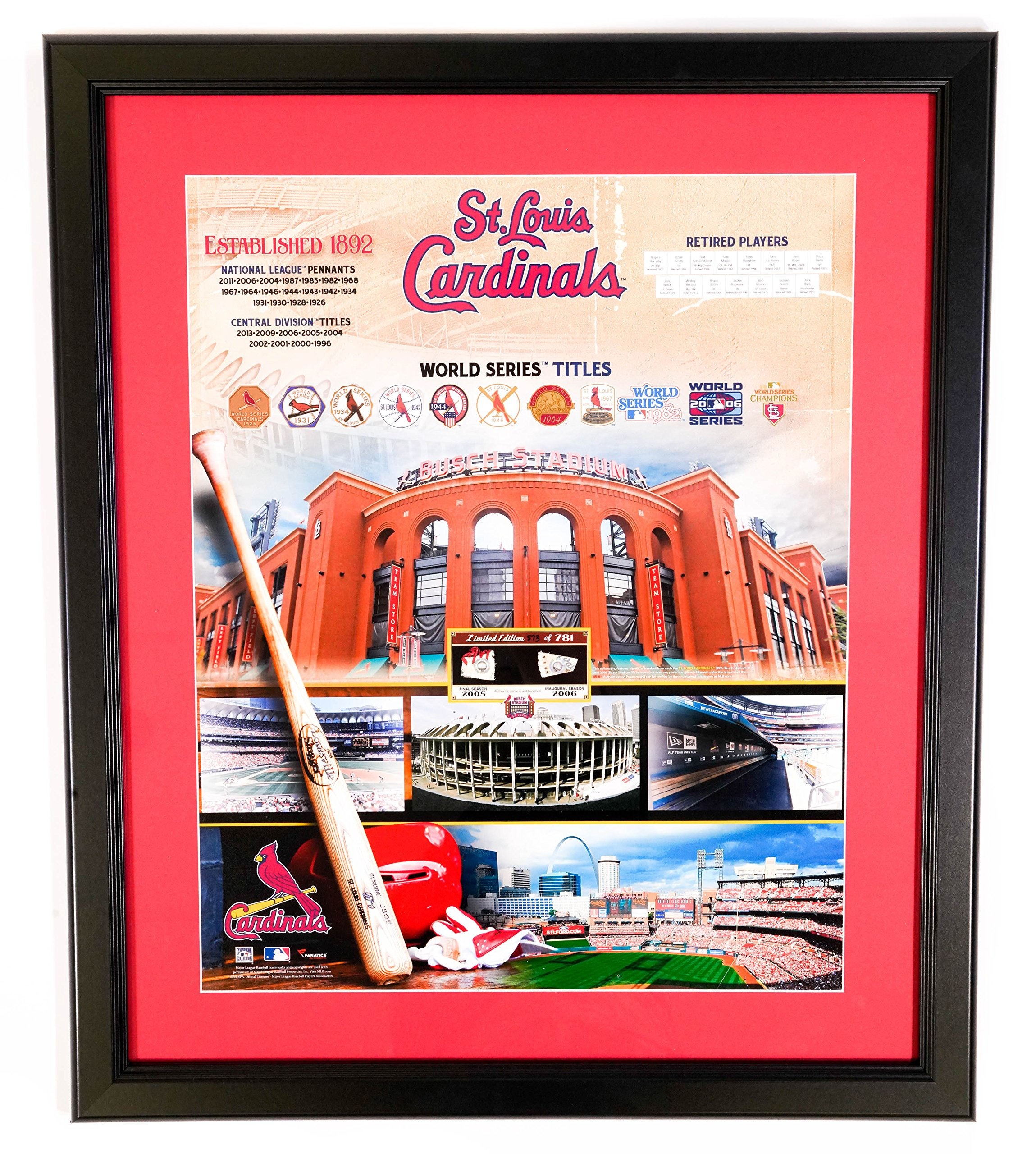 MLB St. Louis Cardinals Limited Edition 2005-2006 World Series Champions - 20x24 Framed Game Used Baseball Memorabilia by AUTHENTIC APPAREL
