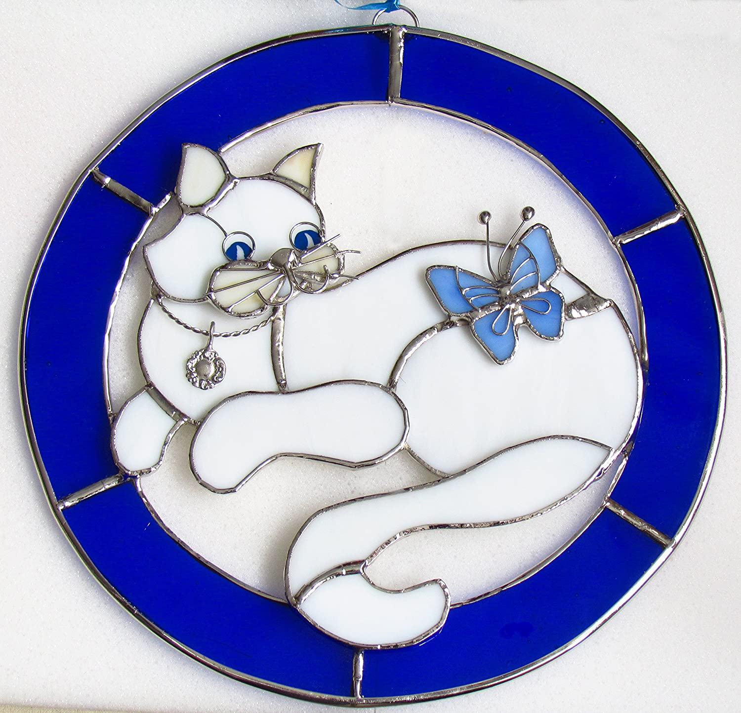 Cat Stained Coloured Glass Suncatcher Window Hanging Picture