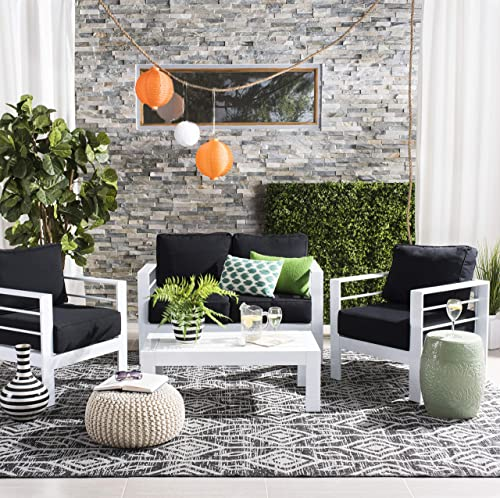 Safavieh PAT2516B Collection Nason White and Black 4 Pc Living Outdoor Set