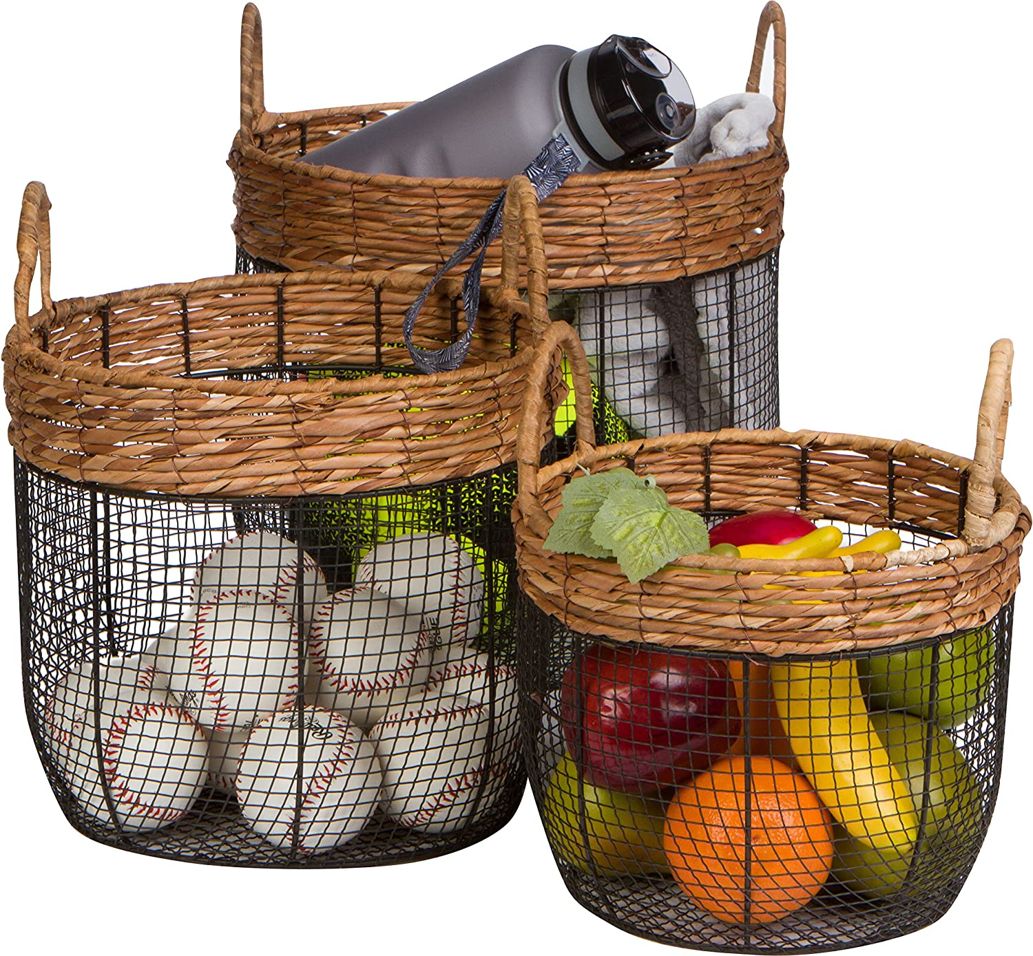 Trademark Innovations Oval Wire Tall Garden Home Décor Baskets with Wicker and Handles - Set of 3