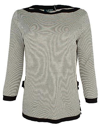 7ec6e9343ab Lauren Ralph Lauren Women s Ruffle Trim Striped Sweater at Amazon Women s  Clothing store