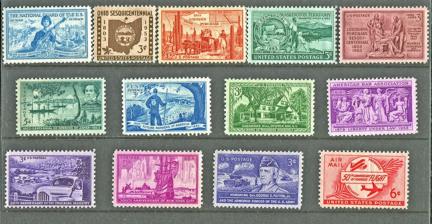 COMPLETE MINT SET OF POSTAGE STAMPS ISSUED IN THE YEAR 1953 BY THE U.S. POST OFFICE DEPT.
