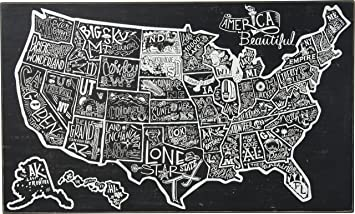 Amazoncom Primitives By Kathy Black And White USA Map - Black and white usa map