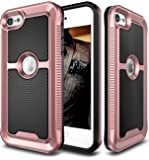 iPod Touch 6 Case, E LV iPod Touch 6 - Hybrid [Scratch/Dust Proof] Armor Defender Slim Shock-Absorption Bumper Case for iPod Touch 5 / iPod Touch 6 - BLACK / ROSE GOLD