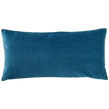 Rivet Velvet Texture Pillow, 12  x 24 , Azure