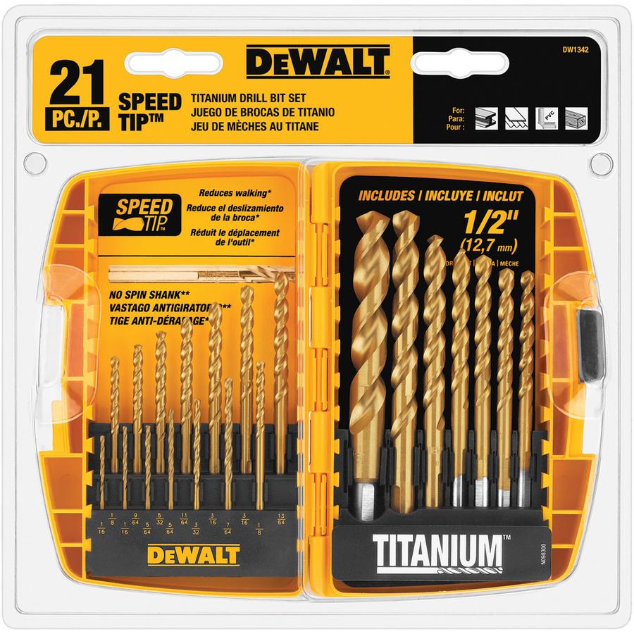 Shop DEWALT 21-Pack Titanium Twist Drill Bit Set at Lowes.com