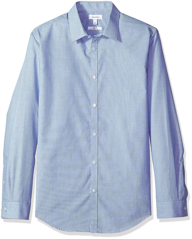 Calvin Klein Hombres 40H6997 Manga Larga Camisa de Botones - Azul ...