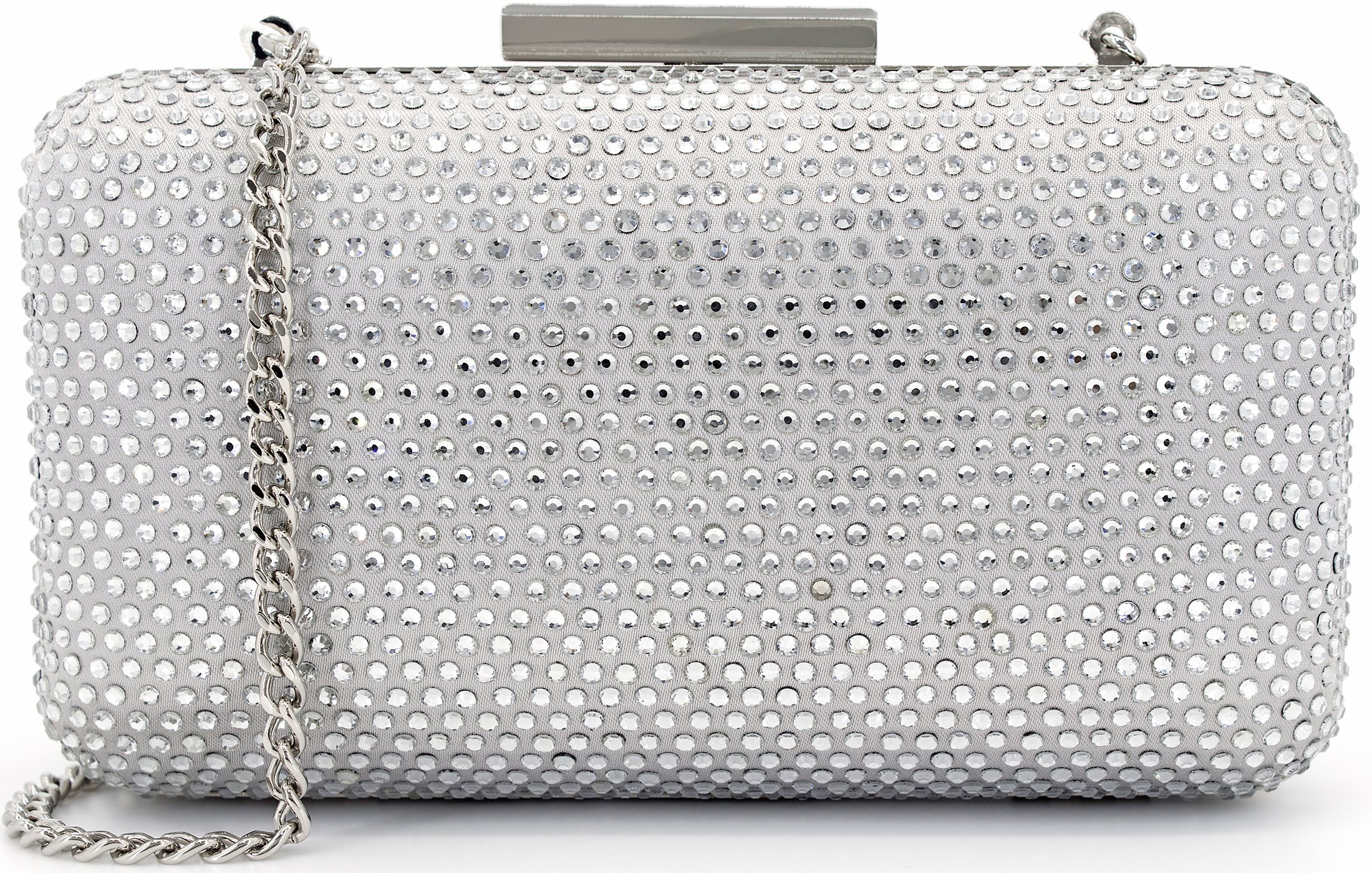 Dexmay Womens Evening Bag for Prom Cocktail Wedding Party Rhinestone Crystal Clutch Purse Silver