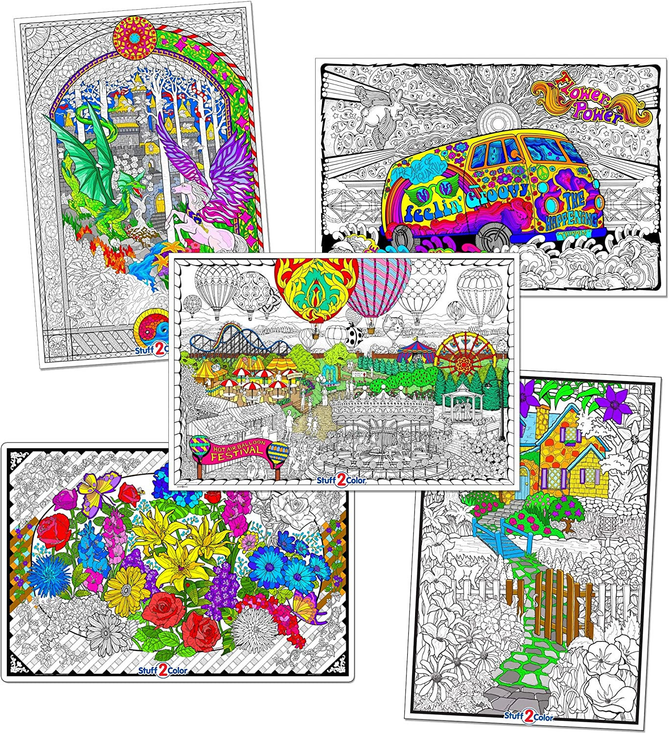 Giant Coloring Poster 5 Pack - Big 22 X 32.5 Inch Line Art Coloring Posters (Original Edition) - Great for Family Time, Adults, Kids, Classrooms, Care Facilities and Group Activities