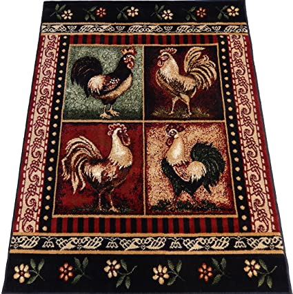 Amazon Com Kjgrug Roosters Kitchen Carpet Woven 5x8 Area Rug Black