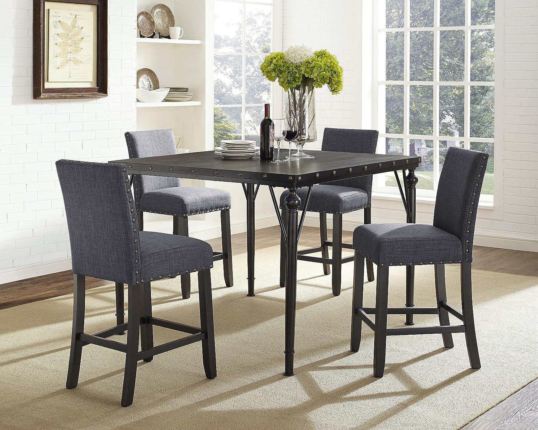 Prime Amazon Com Roundhill Furniture Biony 5 Piece Espresso Wood Andrewgaddart Wooden Chair Designs For Living Room Andrewgaddartcom