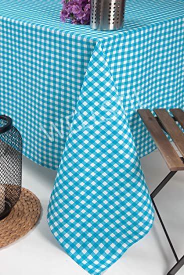 U0026quot;Wellstilu0026quot; Aqua Blue Plaid Tablecloth,Poly Cotton Fresh Table  Cloth,