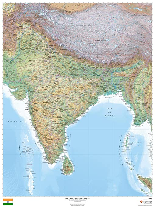 Amazon Com India 36 X 48 Laminated Wall Map Office Products