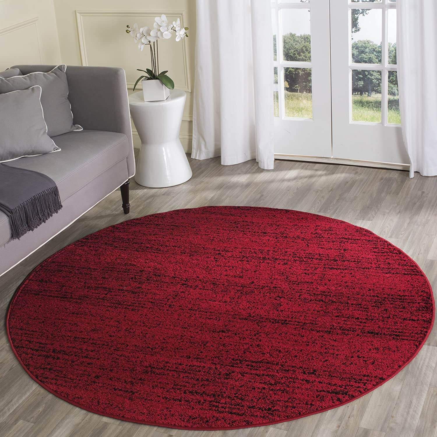 Safavieh Adirondack Collection ADR117F Red and Black Contemporary Round Area Rug (4' Diameter)