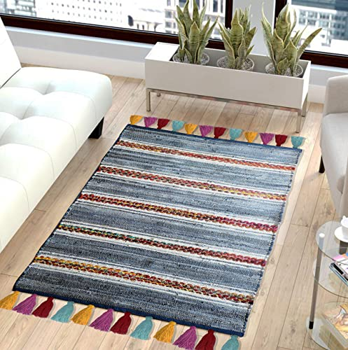 The Home Talk Contemporary Bohemian Indoor Denim Rag Area Rug, Hand Washable, Handmade from Recycled Fabrics and Tassels, Unique for Bedroom, Living Room, Kitchen, Nursery 3 x5 , Denim Rag