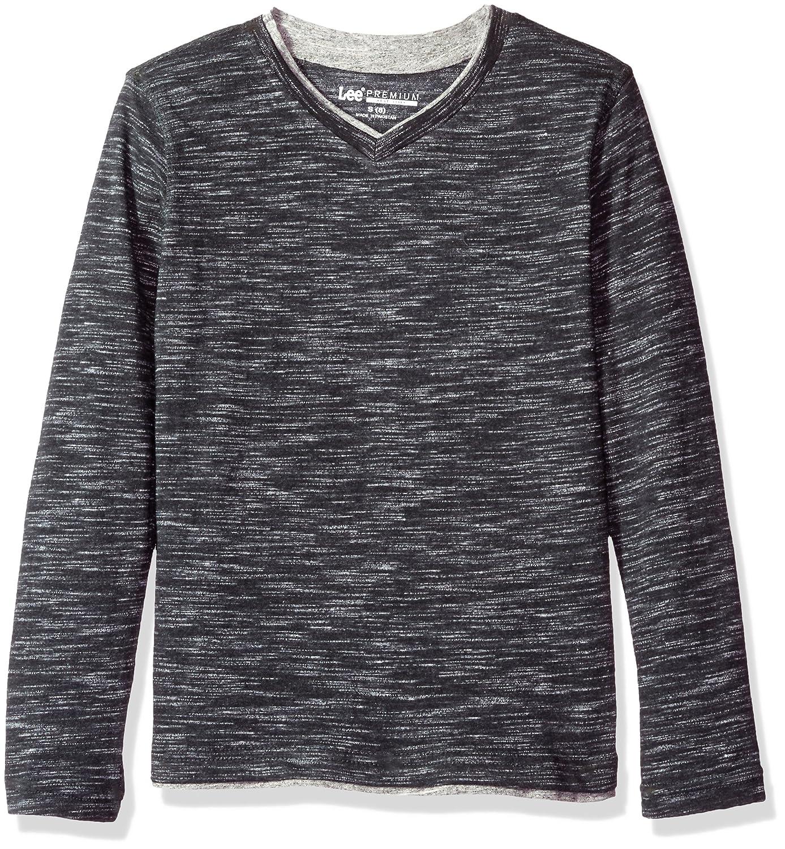 LEE Boys' Big Tipping Long Sleeve Vneck Shirt LK
