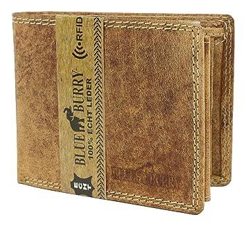 39eee4727d338 RFID-Schutz Herren Geldbörse aus Leder mit RFID-Blocker Portemonnaie  Brieftasche mit Box Blue