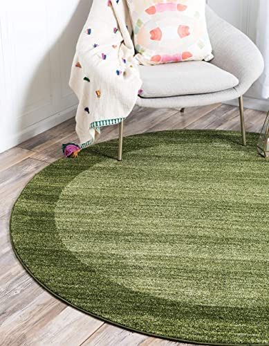 Unique Loom Del Mar Collection Contemporary Transitional Light Green Round Rug 8 0 x 8 0