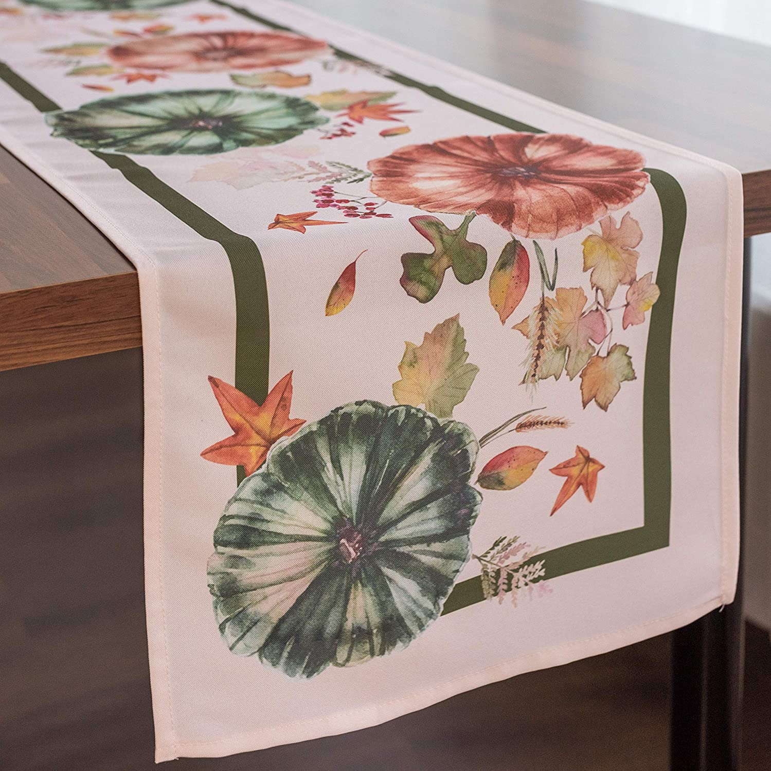 Non-Iron Stain Resistant Thanksgiving Table Runner – Pumpkins Table Cover Home Dining Room Table Decor - Thanksgiving Decorations, Stylish Ivory Thanksgiving Tablerunner 14