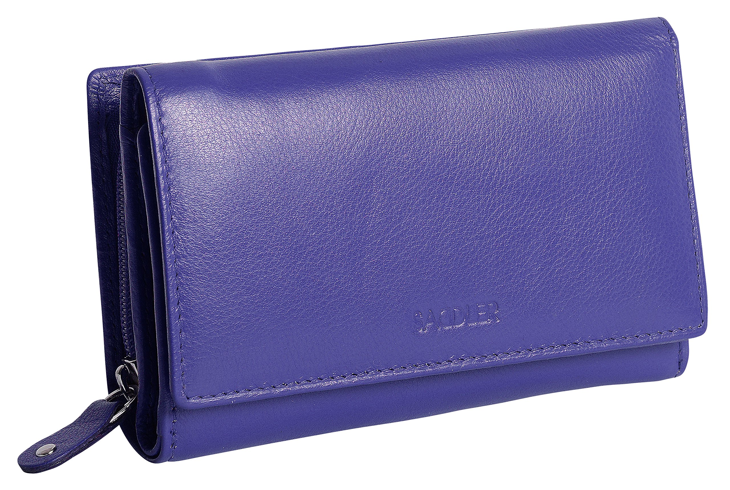 SADDLER Womens Real Leather Medium Trifold Wallet With Zipper Coin Purse - Ultraviolet