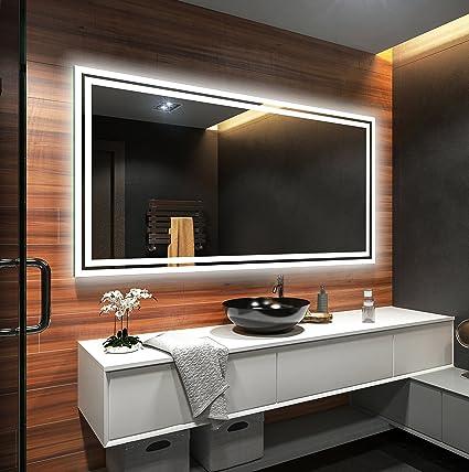 Espejo de Baño Moderno con la Iluminación LED 120x60cm: Amazon.es: Hogar