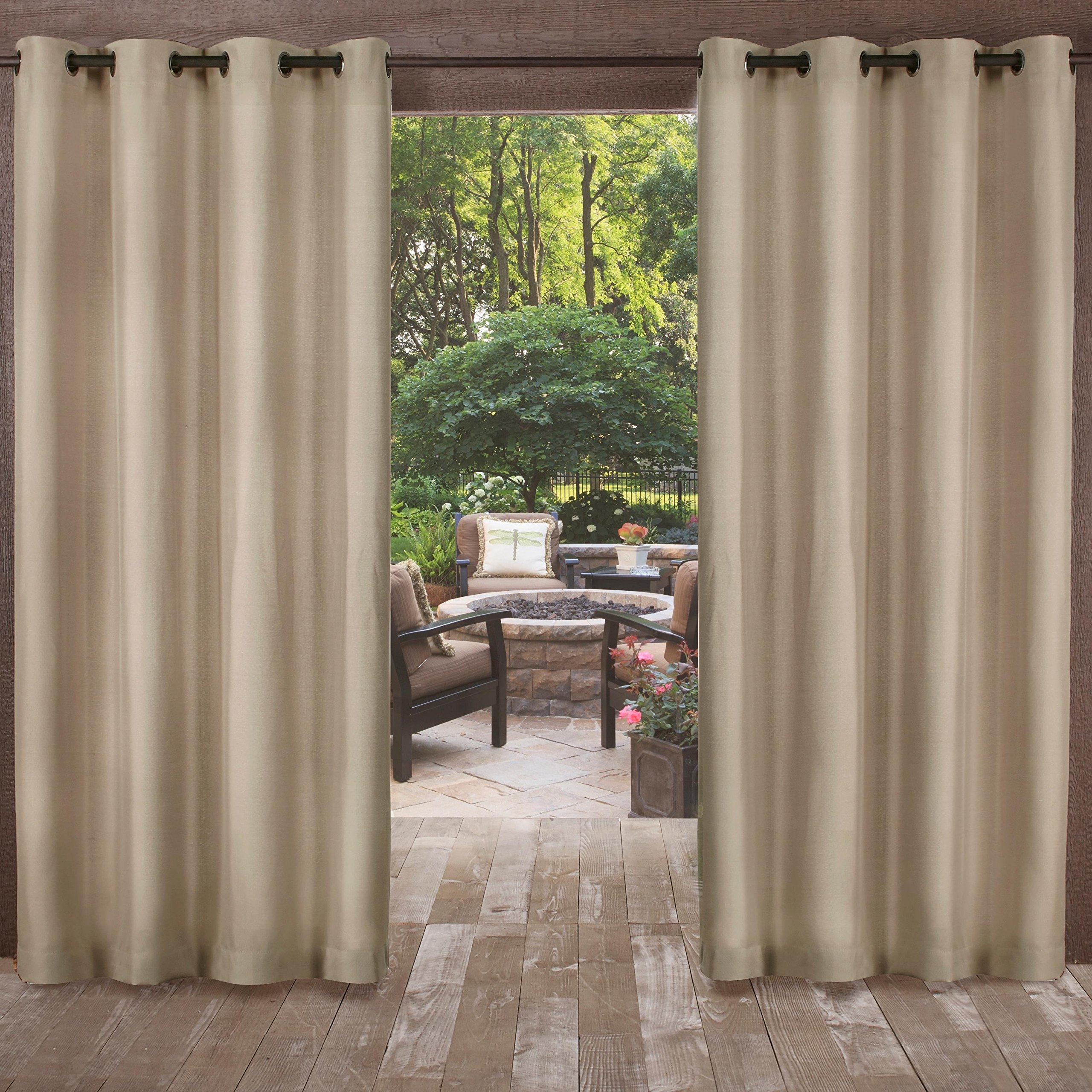 UK4 2 Piece 96 Inch Natural Indoor Outdoor Two Tone Textured Gazebo Curtain, Light Brown Window Treatment Panel Pair, Patio Porch Cabana Dock Grommet Top Pergola Drapes, Casual Contemporary Polyester