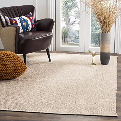 Safavieh Montauk Collection MTK717G Handmade Flatweave Ivory and Beige Cotton Area Rug 8' x 10'