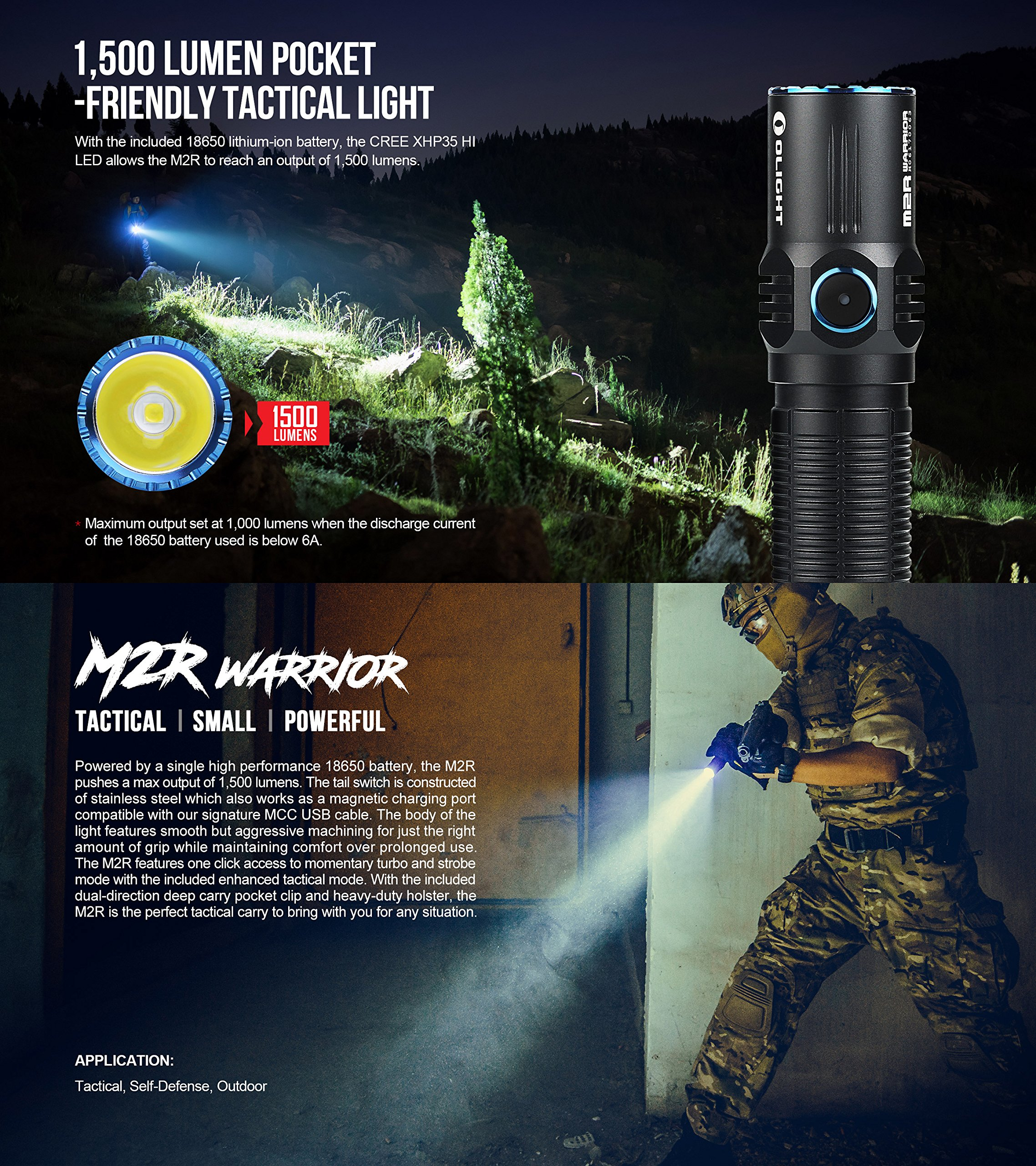 SKYBEN Olight M2R 1500 Lumen Cree XHP35 HD LED USB Magnetic Rechargeable Dual switches Tactical Flashlight,with Magnetic Charging Cable,Customized 18650 Battery Accessory (Cool White) by SKYBEN (Image #3)