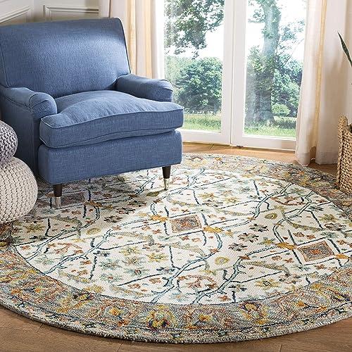 Safavieh Aspen Collection Premium Wool Round Area Rug, 7 , Ivory Blue