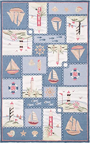 Safavieh Chelsea Collection HK267A Hand-Hooked Blue Premium Wool Area Rug 8'9″ x 11'9″