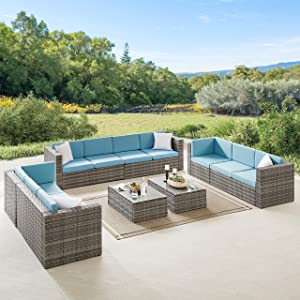 Volans 8 Pieces Patio Furniture Sets, Patio Garden Backyard Rattan Conversation Set, Outdoor PE Wicker Sectional Sofa Couch with 2 Pillows and Glass Table, Blue