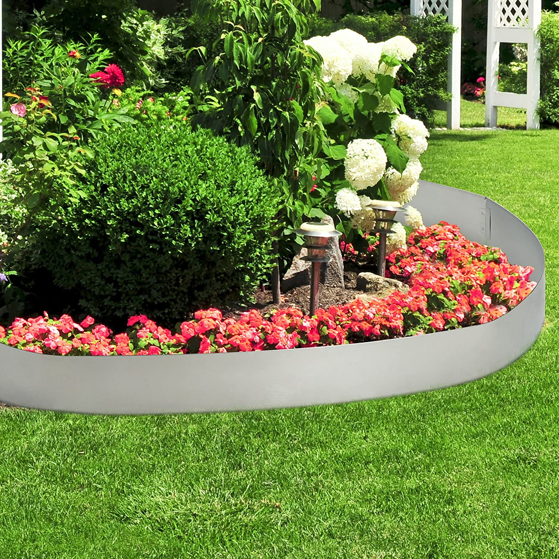 casa.pro] Borde limitador de jardín - Borduras de jardín - Set de 5 Piezas - Color Plata - Acero galvanizado: Amazon.es: Jardín