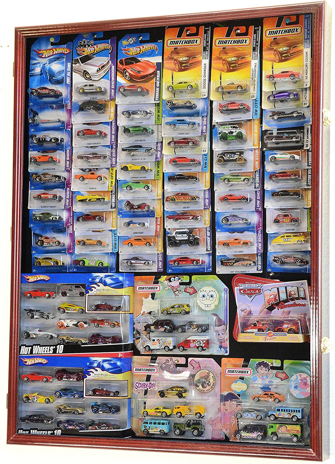 Hot Wheels/Matchbox for Cars in Retail Boxes Display Case Cabinet w/UV Door, Cherry
