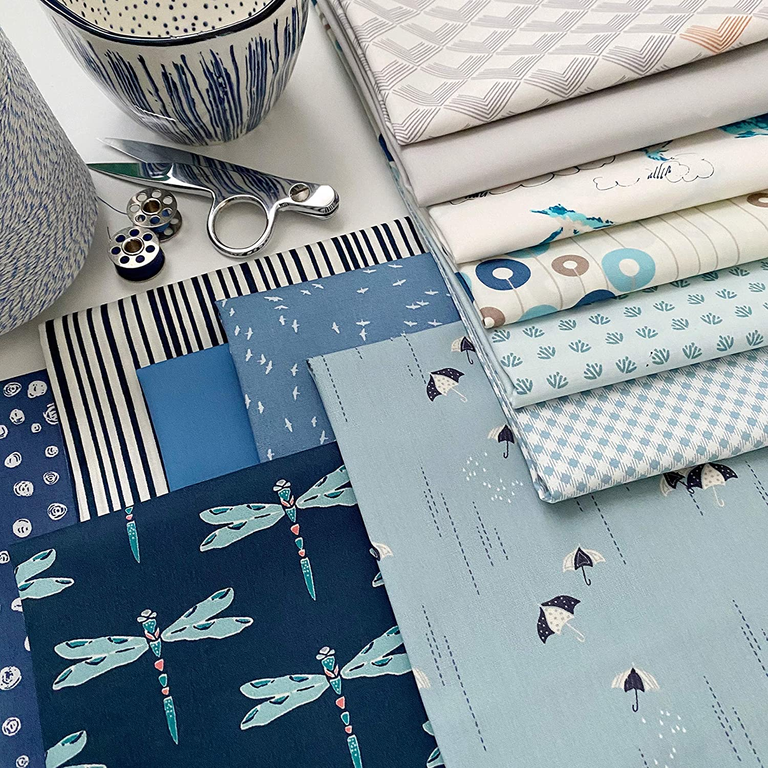 Blue Gray Fat Quarters with Birds and Trees | Floral Fabrics | Various Art Gallery Prints | Nature | Cool Colors | Sharon Holland | Fat Quarter Bundle | Half Yard Bundle (Fat Quarters)
