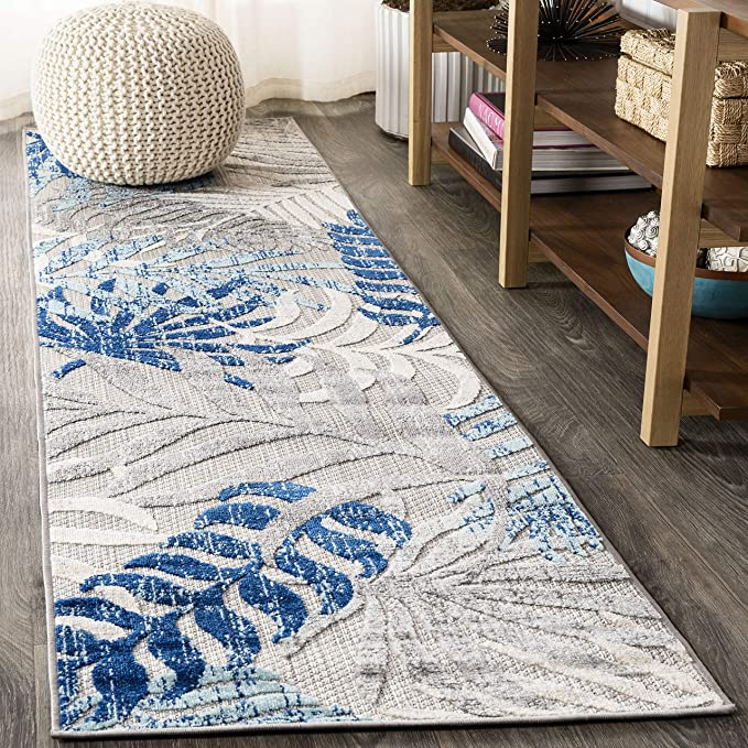 Jonathan Y Tropics Palm Leaves Indoor Outdoor Gray Blue 2 Ft X 8 Ft Runner Rug Outdoor Easy Cleaning For High Traffic Kitchen Living Room Backyard Non Shedding Furniture Decor Amazon Com
